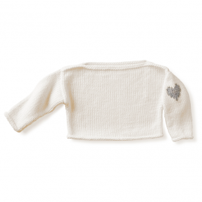 boatneck heart layette sweater - vanilla