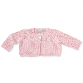 crochetted chubby cardigan - rose
