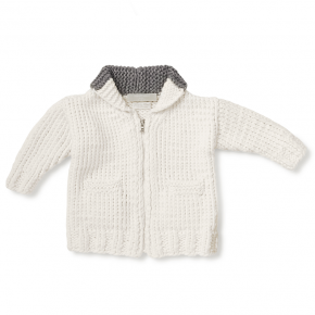 grey rabbit signature layette sweater