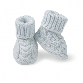 Heart Cable Layette Slippers Blue