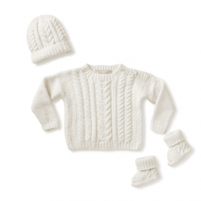 Heart Cable Layette Vanilla